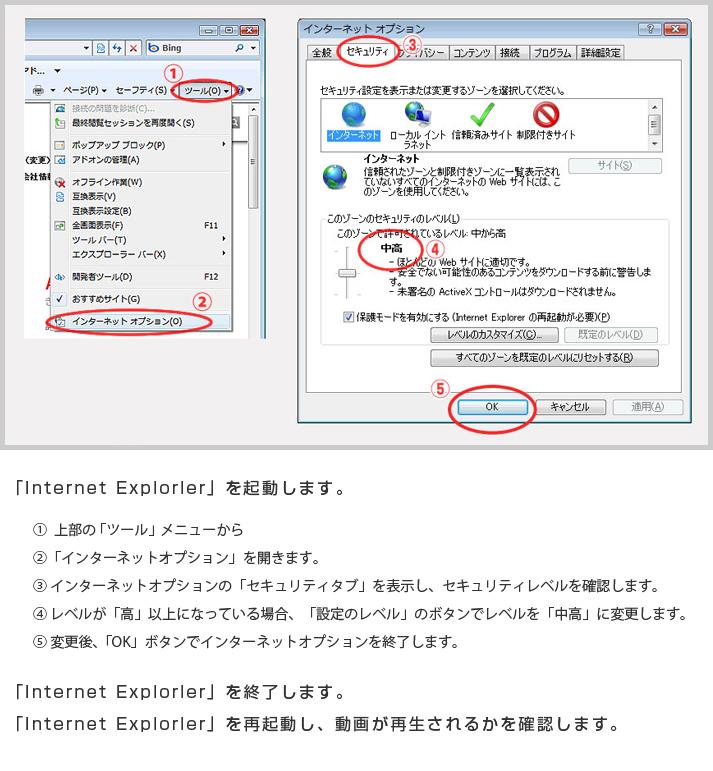 e309ff3d19 「Internet Explorer」がFlashムービーの再生が可能な設定になっているか、 以下の一般的なセキュリティ設定内容を確認して下さい。